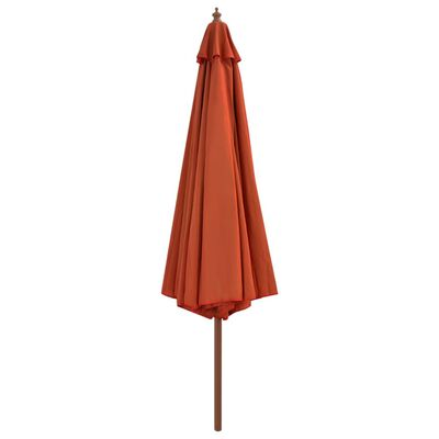 vidaXL Outdoor Parasol with Wooden Pole 350 cm Terracotta