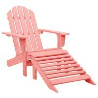 vidaXL Garden Adirondack Chair with Ottoman Solid Fir Wood Pink