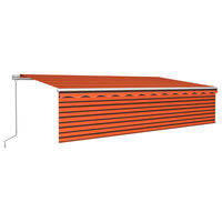 vidaXL Manual Retractable Awning with Blind&LED 6x3m Orange&Brown