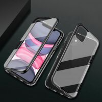 Double-sided magnetic cover for iPhone 12 Pro 6.1 inch with tempered g