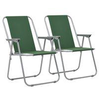 vidaXL Folding Camping Chairs 2 pcs 52x59x80 cm Green