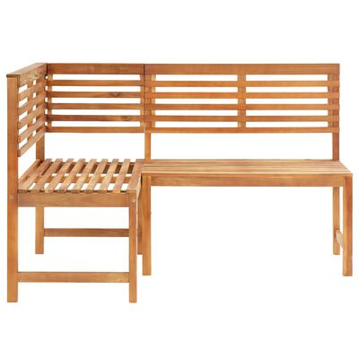 vidaXL Garden Corner Bench 140 cm Solid Acacia Wood