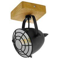 EGLO Spot Light Gatebeck  1 Lamp Steel and Wood Black