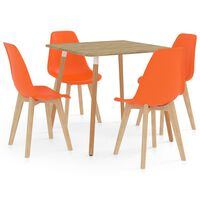 vidaXL 5 Piece Dining Set Orange