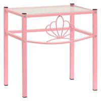 vidaXL Bedside Cabinet Pink&Transparent 42.5x33x44.5 cm Metal & Glass