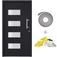 vidaXL Front Door Aluminium and PVC Anthracite 100x210 cm