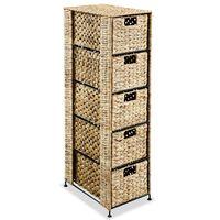 vidaXL Storage Unit with 5 Baskets 25.5x37x100 cm Water Hyacinth