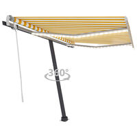 vidaXL Manual Retractable Awning with LED 350x250 cm Yellow and White
