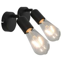 vidaXL Spot Lights 2 pcs Black E27
