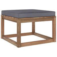 vidaXL Garden Footrest with Anthracite Cushion