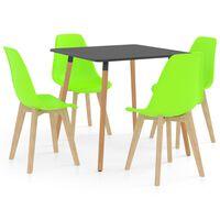vidaXL 5 Piece Dining Set Green
