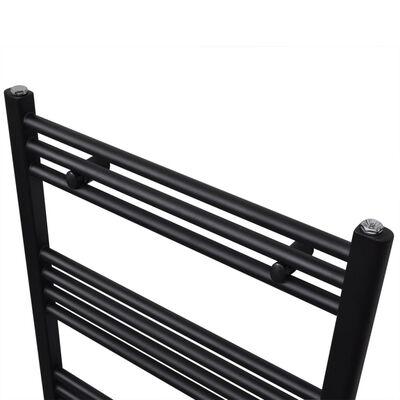 Black Bathroom Central Heating Towel Rail Radiator Curve 500x1424mm