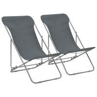 vidaXL Folding Beach Chairs 2 pcs Steel and Oxford Fabric Grey