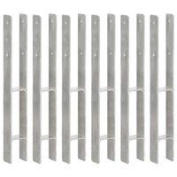 vidaXL Fence Anchors 6 pcs Silver 7x6x60 cm Galvanised Steel