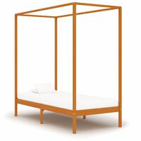 vidaXL Canopy Bed Frame Honey Brown Solid Pine Wood 90x200 cm