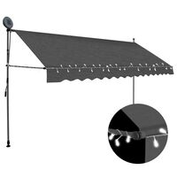 vidaXL Manual Retractable Awning with LED 350 cm Anthracite