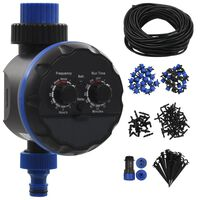 vidaXL 142 Piece Outdoor Automatic Drip Watering Kit with Water Timer
