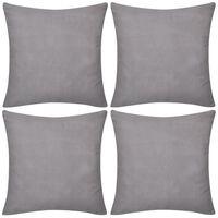 4 Grey Cushion Covers Cotton 40 x 40 cm