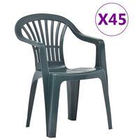 vidaXL Stackable Garden Chairs 45 pcs Plastic Green