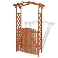 vidaXL Garden Arch with Gate Solid Wood 120x60x205 cm