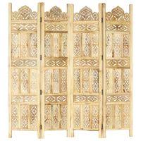 vidaXL Hand carved 4-Panel Room Divider 160x165 cm Solid Mango Wood