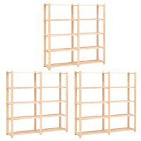 vidaXL 5-Tier Storage Racks 3 pcs 170x38x170 cm Solid Pinewood 500 kg