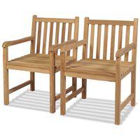 vidaXL Outdoor Chairs 2 pcs Solid Teak Wood