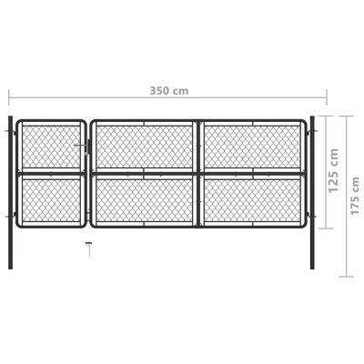 vidaXL Garden Gate Steel 125x350 cm Anthracite