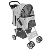 vidaXL Folding Pet Stroller Dog/Cat Travel Carrier Grey