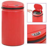 vidaXL Automatic Sensor Dustbin 50 L Carbon Steel Red