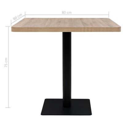 vidaXL Bistro Table MDF and Steel Square 80x80x75 cm Oak Colour
