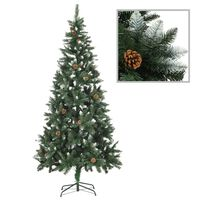 vidaXL Artificial Christmas Tree with Pine Cones and White Glitter 210 cm