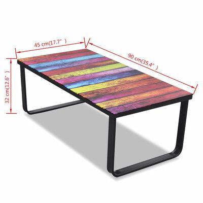 vidaXL Coffee Table with Rainbow Printing Glass Top