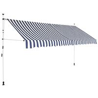 vidaXL Manual Retractable Awning 350 cm Blue and White Stripes