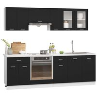 vidaXL 8 Piece Kitchen Cabinet Set Black Chipboard
