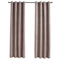 vidaXL Blackout Curtains with Metal Rings 2 pcs Taupe 140x245 cm