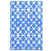 vidaXL Outdoor Carpet Blue and White 190x290 cm PP
