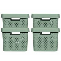 Curver Infinity Storage Box Set 4 pcs with Lid 11L+17L Green