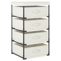 vidaXL Storage Rack with 4 Fabric Baskets Steel Cream