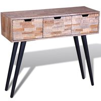 vidaXL Console Table with 3 Drawers Reclaimed Teak Wood