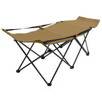 vidaXL Folding Sun Lounger Taupe Steel