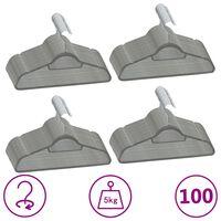 vidaXL 100 pcs Clothes Hanger Set Anti-slip Grey Velvet