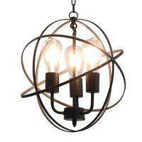 vidaXL Hanging Lamp Black Sphere 3 x E27 Bulbs
