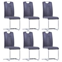 vidaXL Cantilever Dining Chairs 6 pcs Grey Faux Suede Leather