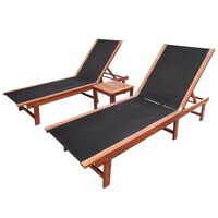 vidaXL Sun Loungers 2 pcs with Table Solid Acacia Wood and Textilene