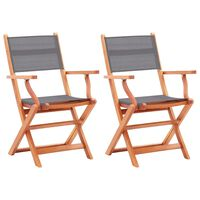 vidaXL Folding Garden Chairs 2 pcs Grey Solid Eucalyptus Wood and Textilene