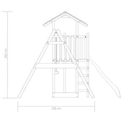 vidaXL Playhouse with Ladder, Slide and Swings 407x381x263 cm Wood