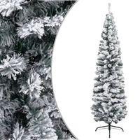vidaXL Slim Artificial Christmas Tree with Flocked Snow Green 240 cm PVC
