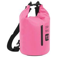 vidaXL Dry Bag with Zipper Pink 15 L PVC
