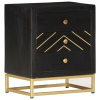 vidaXL Bedside Cabinet Black and Gold 40x30x50 cm Solid Mango Wood